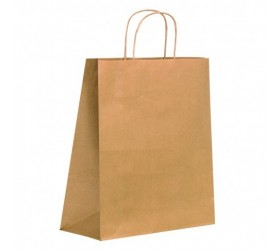 Bolsa de papel Kraft con mango de hilo 270x130mm H320mm (200 uds)