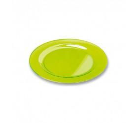 Plato Plastico Redondo Extra Rigido Verde 23cm (6 Uds)